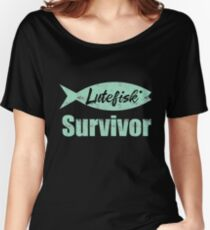 Lutefisk Survivor  Funny Scandinavian Fishing Shirt Women's Relaxed Fit T-Shirt