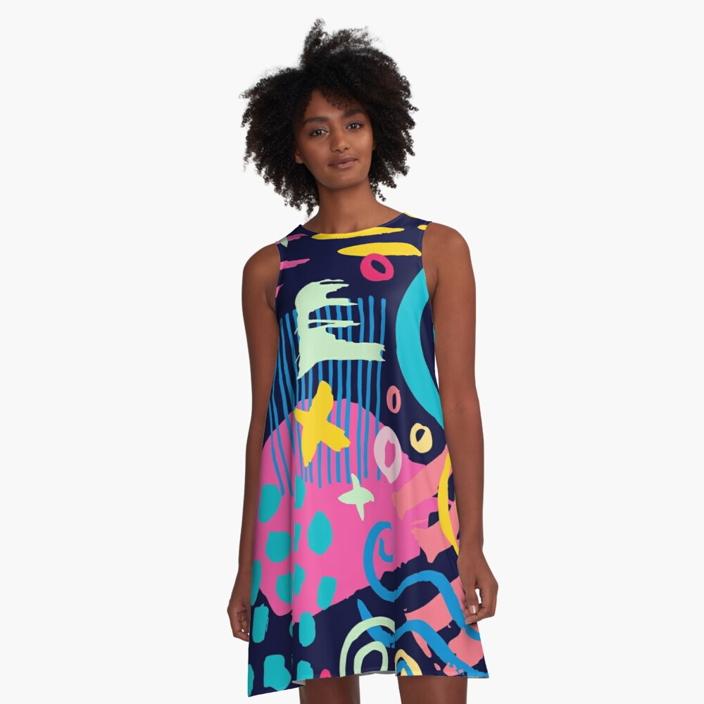Trendy Abstract Art Pattern A-Line Dress