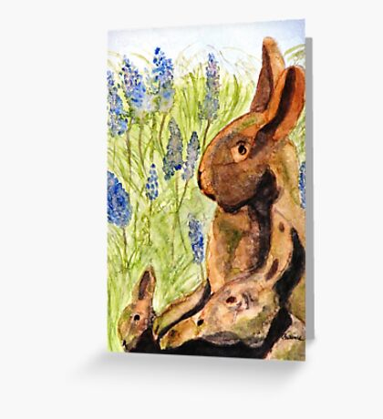 Terra Cotta Bunny Family Greeting Card