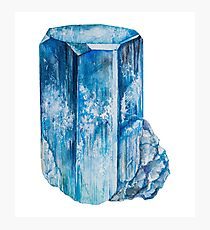 Watercolor Aquamarine blue raw crystal March birthstone Photographic Print