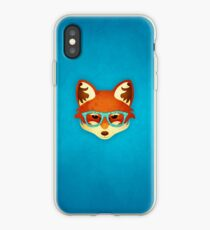 Hipster Fox: Blue iPhone Case