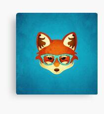 Hipster Fox: Blue Canvas Print