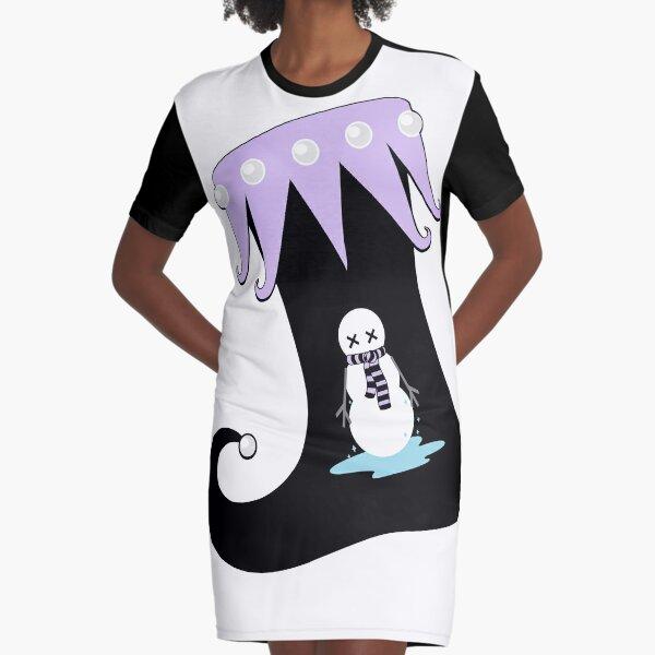 Pastel Goth Christmas | Creepy Stocking | Dying Snowman Graphic T-Shirt Dress