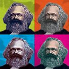 KARL MARX - FATHER OF SOCIALISM, 4-UP WARHOL-STYLE COLLAGE ILLUSTRATION by Clifford Hayes