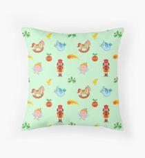 Cute nutcracker, rocking horse, angel and bird in a Christmas pattern Floor Pillow
