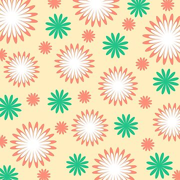 White orange green floral on yellow by cycreation