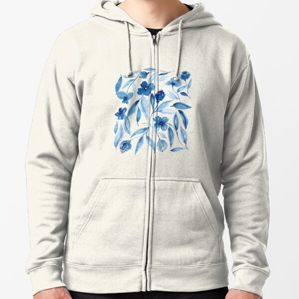Prussian Floral Zipped Hoodie