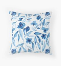Prussian Floral Throw Pillow