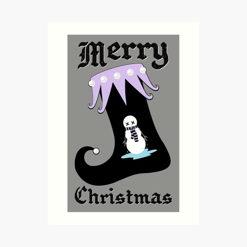Pastel Goth Christmas | Creepy Stocking | Dying Snowman Art Print