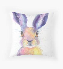 Rainbow Hare Throw Pillow