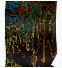 Brown Thunder 2 Acrylic Pour Painting Poster