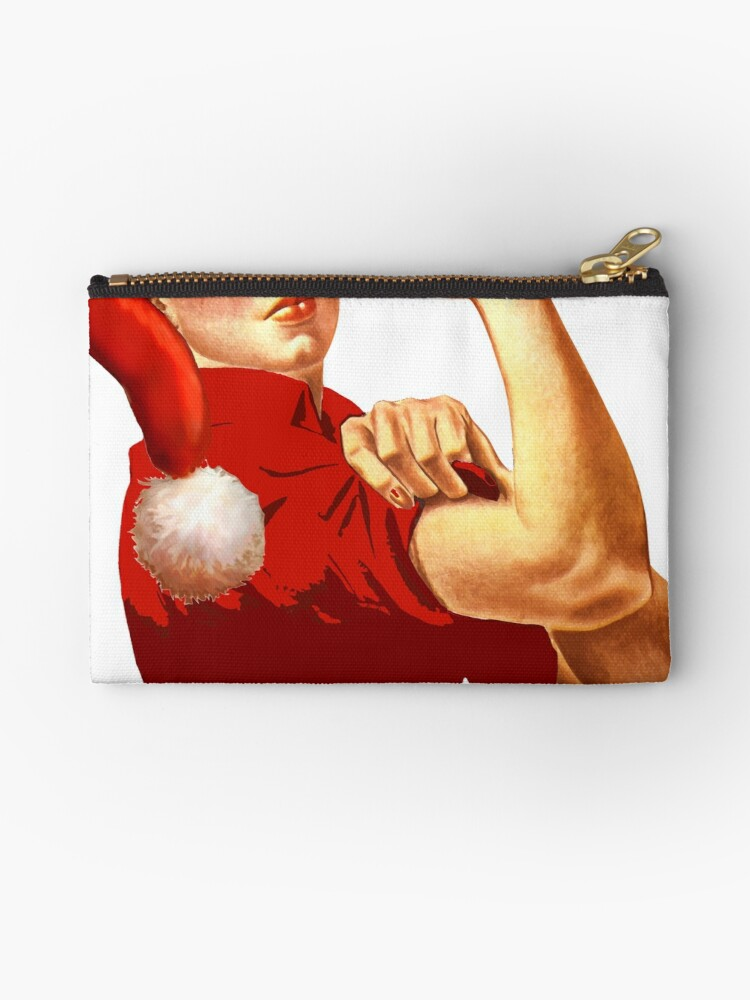 Christmas Hat Vintage Rosie The Riveter Custom Design Red Santa Claus Hat Studio Pouch By 12thmoon
