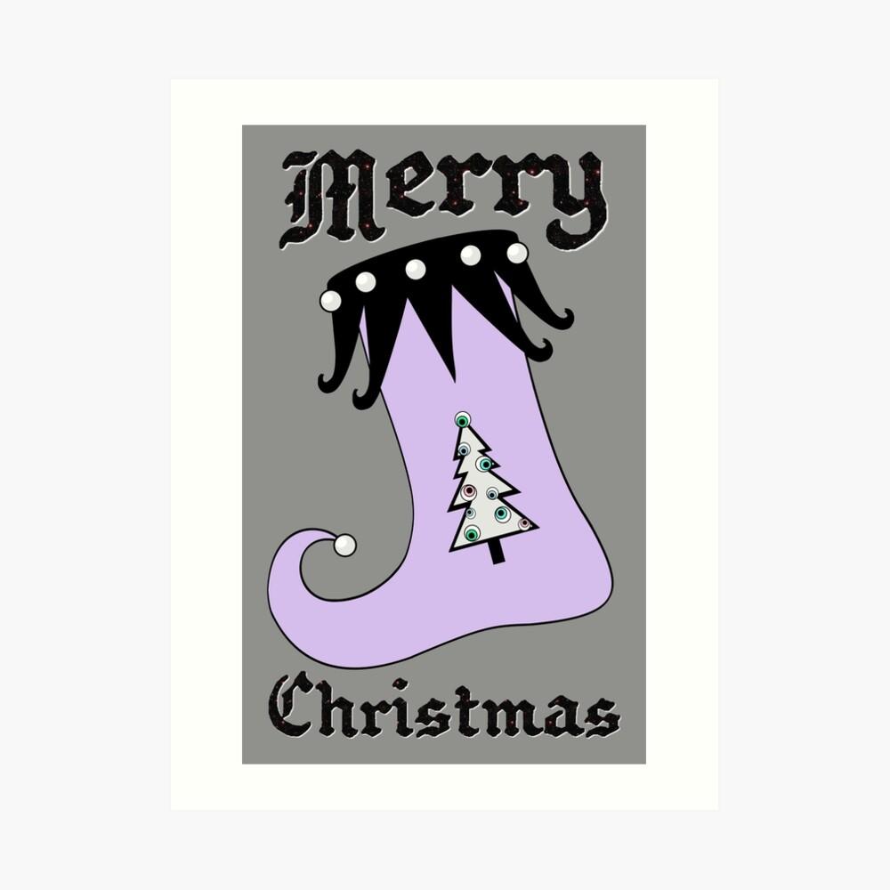 Pastel Goth | Creepy Stocking | Christmas Tree with Eyeball Ornaments Art Print