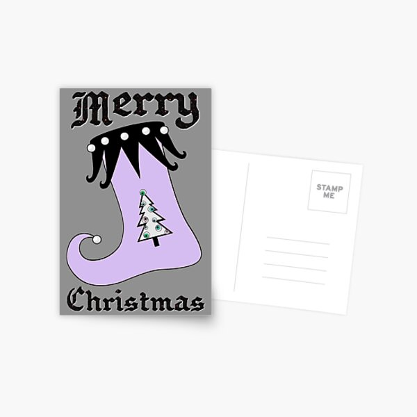 Pastel Goth | Creepy Stocking | Christmas Tree with Eyeball Ornaments Postcard