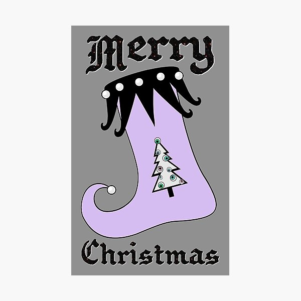 Pastel Goth | Creepy Stocking | Christmas Tree with Eyeball Ornaments Photographic Print
