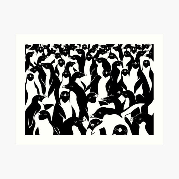 meanwhile penguins  Art Print