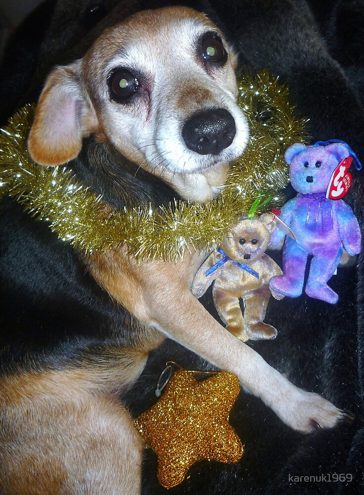 Golden Tinsel Dog with Beanies by karenuk1969
