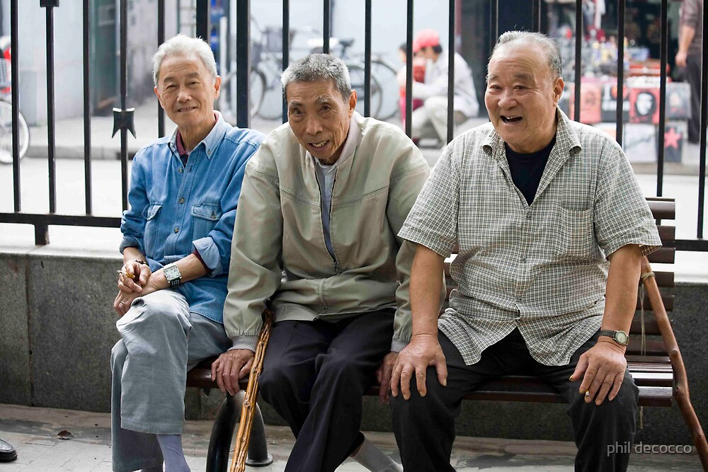 Three Happy Chinamen On A Bench by phil decocco