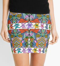Grateful Dead Bears Trippy Pattern Vintage Colors  Mini Skirt