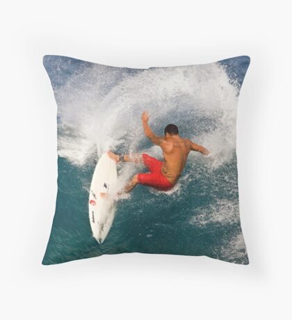 Tattooed Surfer Throw Pillow