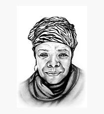 Maya Angelou - Original Pencil Portrait Photographic Print
