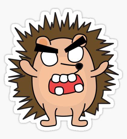angry zombie hedgehog Glossy Sticker