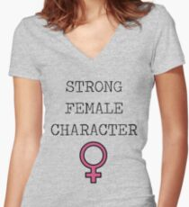 Genre - Strong Female Character Women's Fitted V-Neck T-Shirt