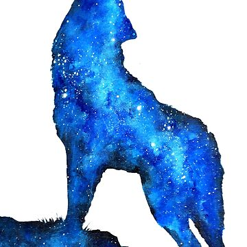 Howling Wolf / Double Exposure Space Wolf by TheMindBlossom