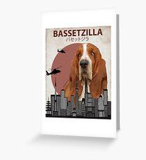 Bassetzilla – Basset Hound Giant Dog Monster Greeting Card