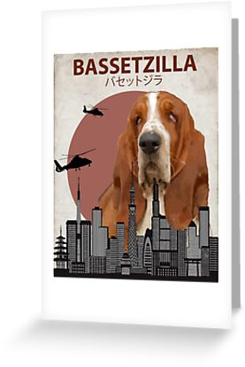 Bassetzilla basset hound giant dog monster greeting cards by bassetzilla basset hound giant dog monster by animalzilla bookmarktalkfo Gallery