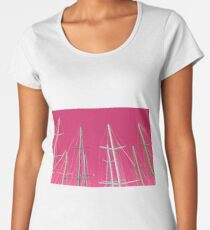 Masts of yachts with pink sky background Women's Premium T-Shirt