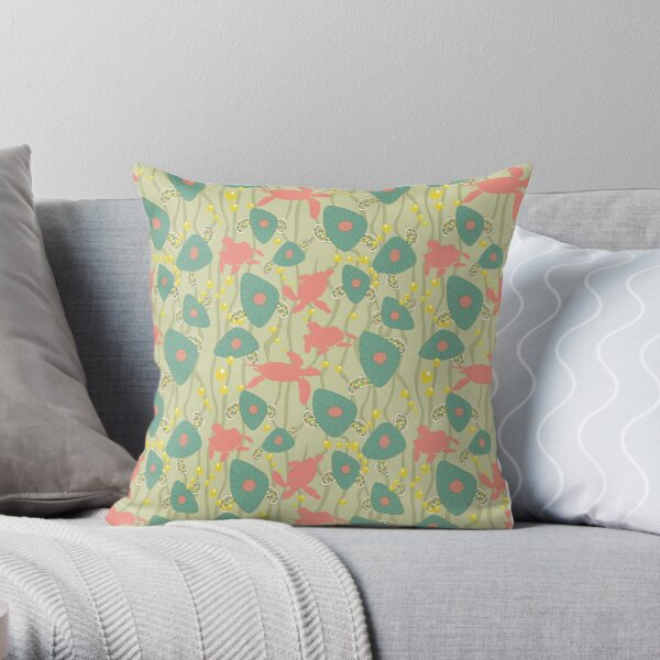 Retro Turtles Throw Pillow