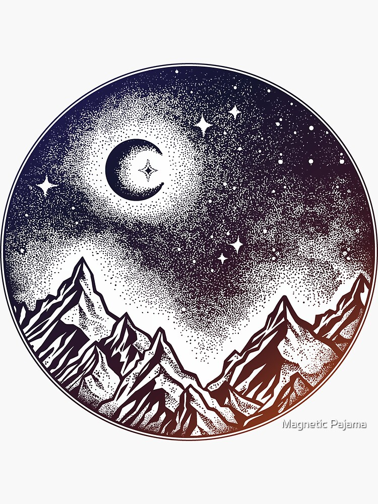 Starry Purple Mountain Scene with Moon & Stars by MagneticMama