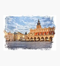 Drawing, illustration old town, Krakow, Poland Photographic Print