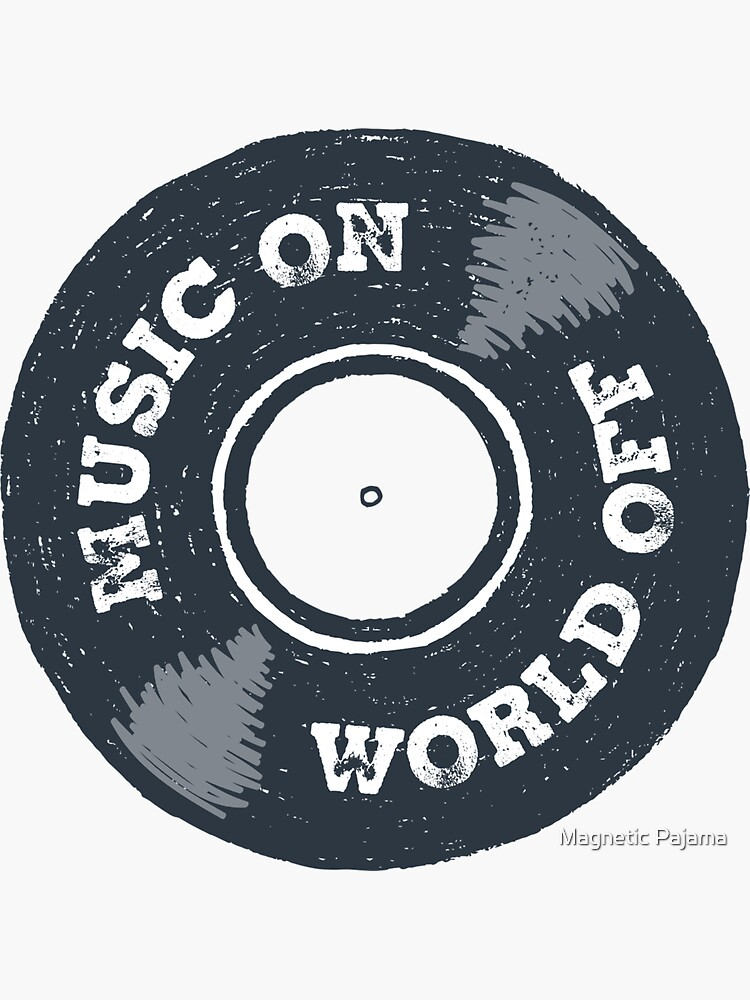Music On World Off Old School Music Vintage Record by MagneticMama