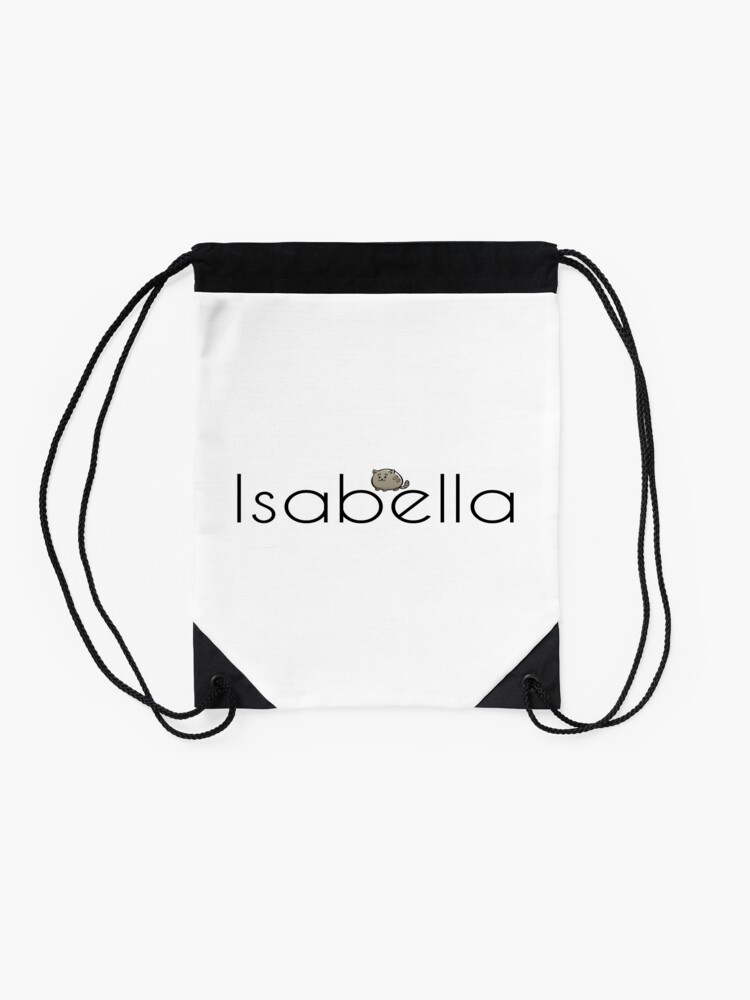 Alternate view of Isabella Cat Name Inspired by The Color of Money Drawstring Bag