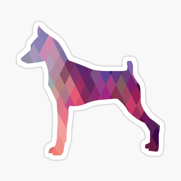 Min Pin Colorful Geometric Pattern Silhouette Pink Sticker