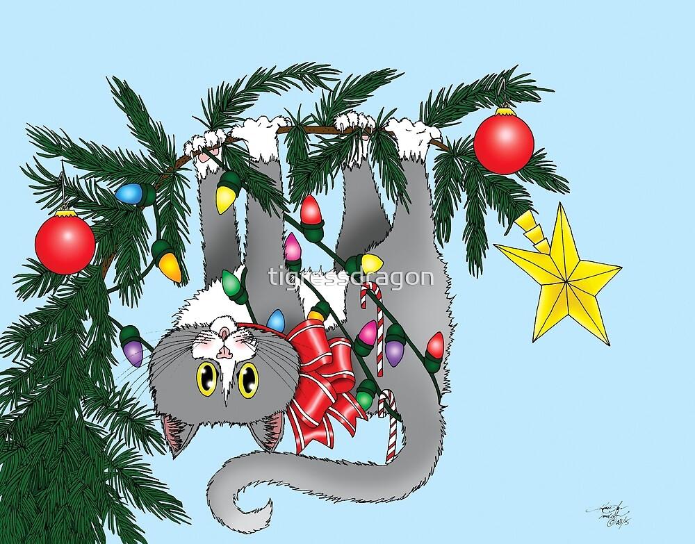 Christmas Tree Cat by tigressdragon