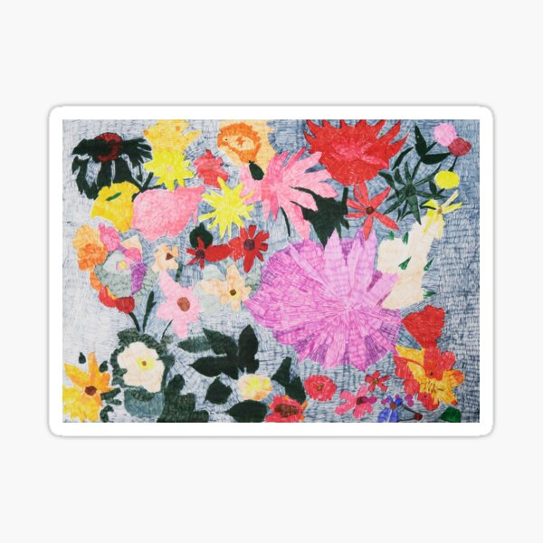 Colorful Floral Pattern Pen and Ink Sticker