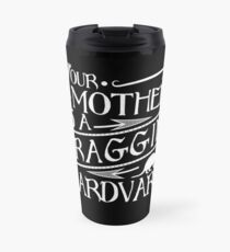 Your Mother is a Fraggin' Aardvark White Distressed Graphic Travel Mug