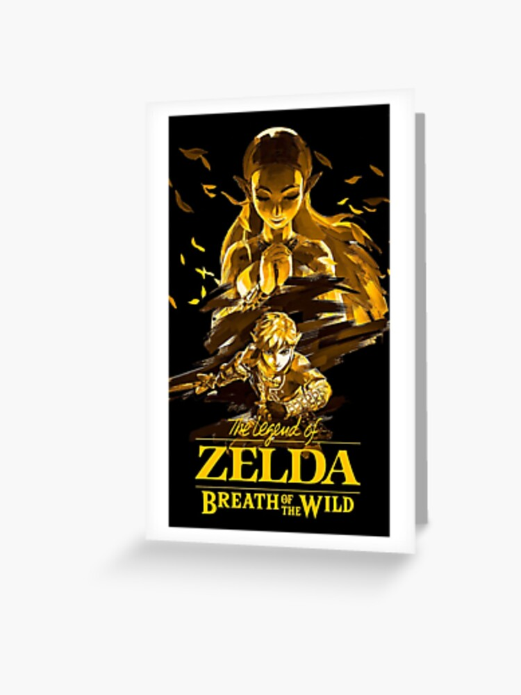 The Legend of Zelda: Breath of the Wild Gold and Black Artwork   Greeting  Card