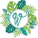 Monogramm-Buchstabe W | Personalisiert | Tropisches Design von PraiseQuotes
