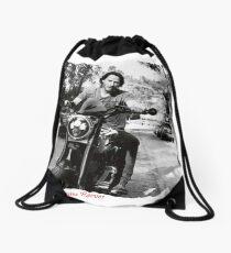 Keanu Reeves on Bike – Black and White  Drawstring Bag