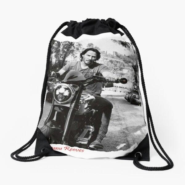 Keanu Reeves on Bike – Black and White (ACCI) Drawstring Bag