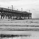 Surfside Pier In Black & White by Dawne Dunton