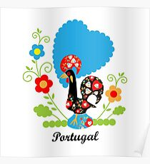 Rooster from Portugal with flowers Poster