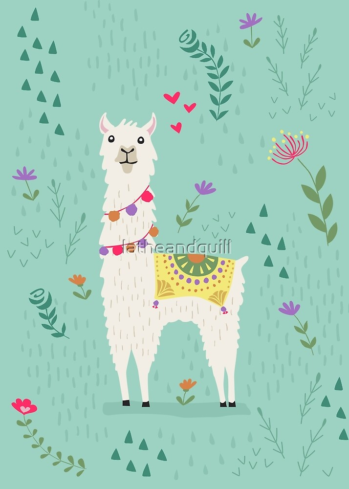 Festive Llama by latheandquill
