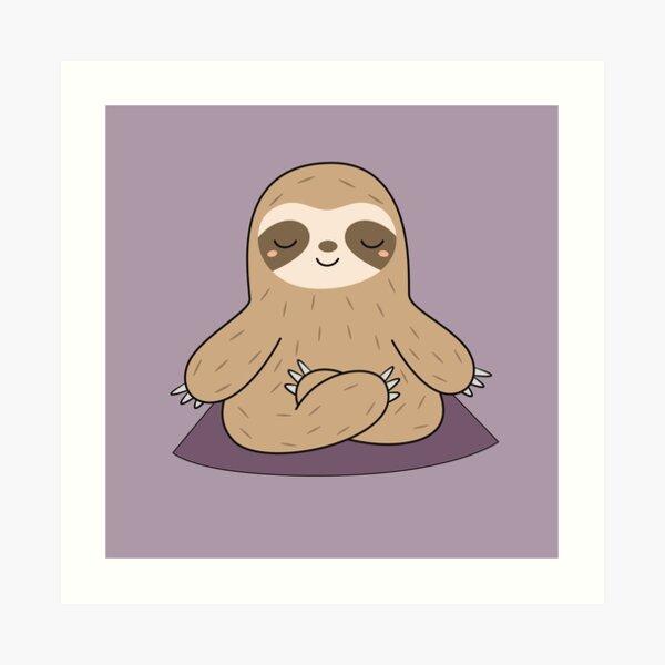 Kawaii Cute Yoga Meditating Sloth  Art Print