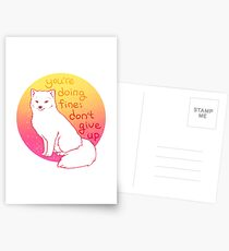 """Don't Give Up"" Encouraging Arctic Fox Postcards"