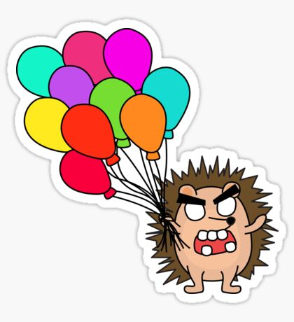 angry zombie hedgehog with balloons Glossy Sticker
